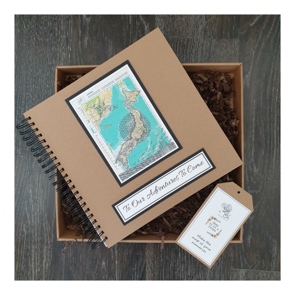 large scrapbook with illustrated Japan Map and adventures wording